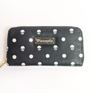 Loungefly Black Wallet with Skull Pattern